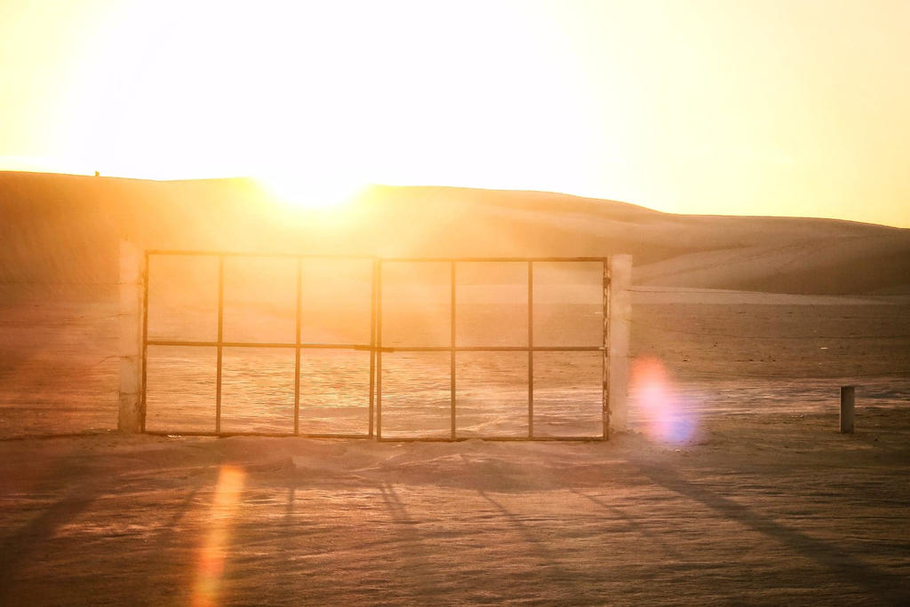 Le soleil en debut de journée, retour au départ après la boucle de 100km