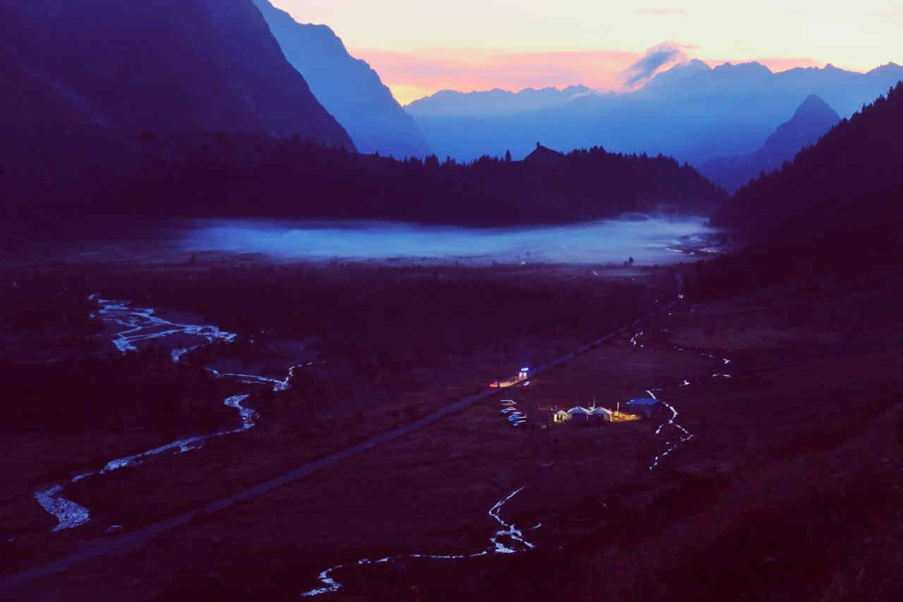 Arrivée au Lac Combal de nuit